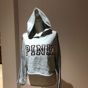 PINK cropped hooded sweatshirt